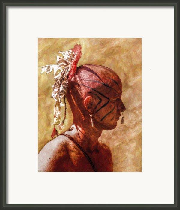 Shawnee Indian Warrior Portrait Framed Print By Randy Steele