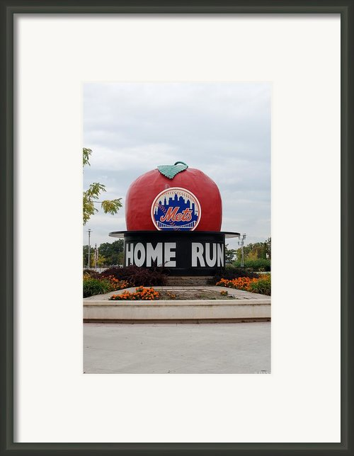 Shea Stadium Home Run Apple Framed Print By Rob Hans