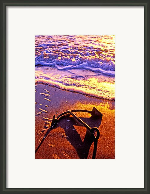 Ships Anchor On Beach Framed Print By Garry Gay
