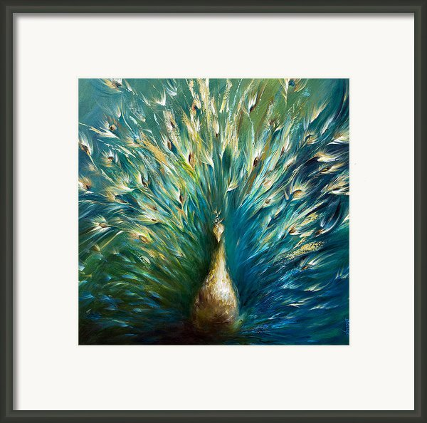Showoff 3  White Peacock Framed Print By Dina Dargo