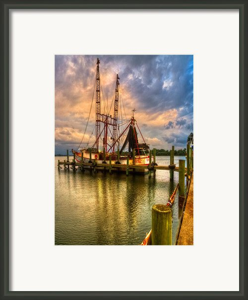 Shrimp Boat At Sunset Framed Print By Debra And Dave Vanderlaan