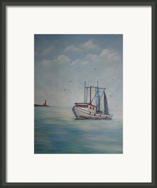Shrimp Boat Framed Print By Carolyn Speer