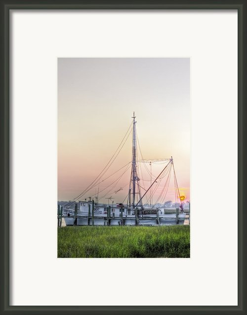 Shrimp Boat Sunset Framed Print By Drew Castelhano