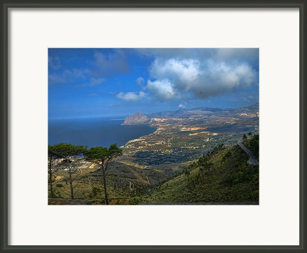 Sicily Coast From Erice Framed Print By Elaine Snyder