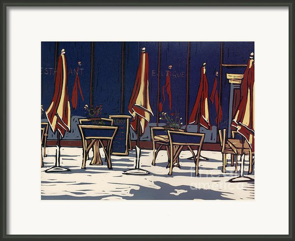 Sidewalk Cafe - Linocut Print Framed Print By Annie Laurie