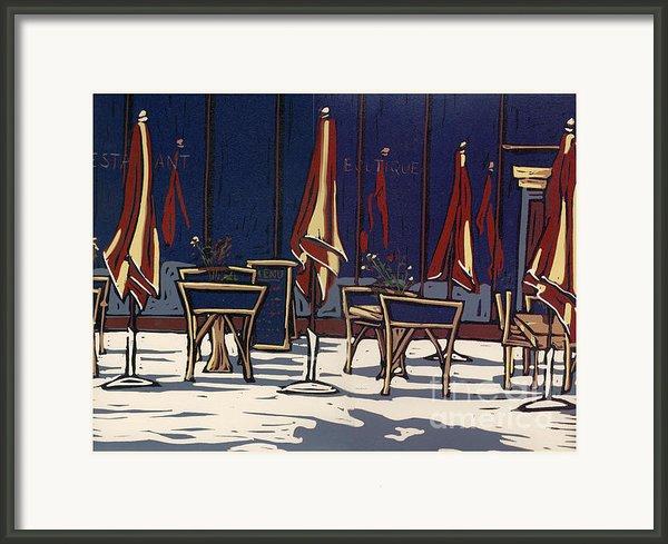 Sidewalk Cafe - Linocut Print Framed Print By Annie Laurie
