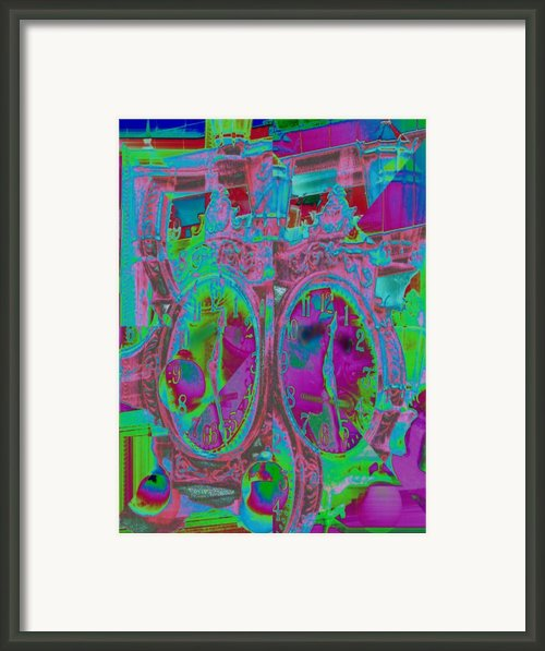 Sidewalk Timepiece Framed Print By Tim Allen