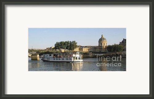 Sightseeing Boat On River Seine. Paris Framed Print By Bernard Jaubert