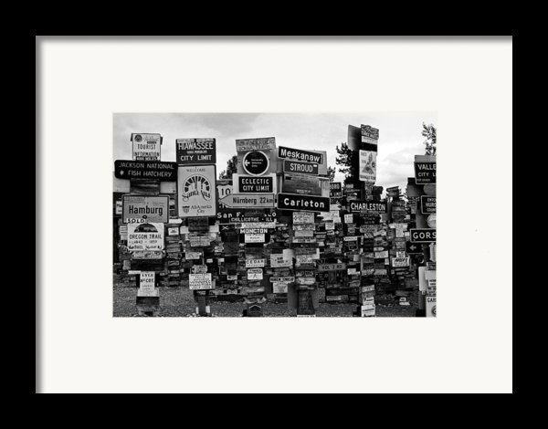Sign Post Forest Framed Print By Juergen Weiss