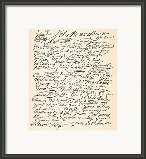 Signatures Attached To The American Declaration Of Independence Of 1776 Framed Print By Founding Fathers