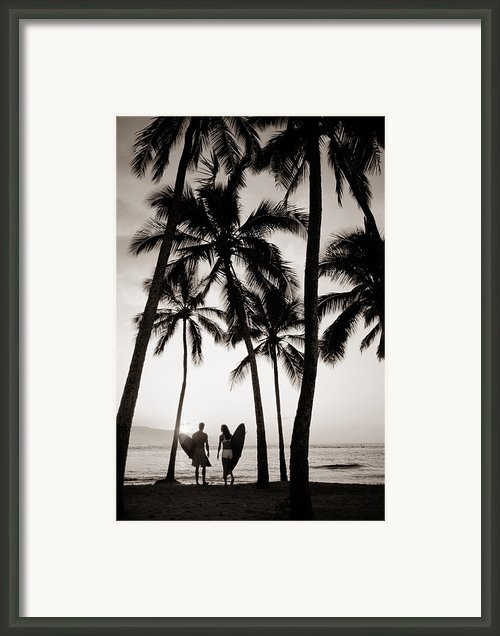 Silhouetted Surfers - Sep Framed Print By Dana Edmunds - Printscapes