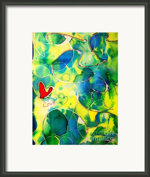 Silk Painting With A Heart  Framed Print By Alexandra Jordankova