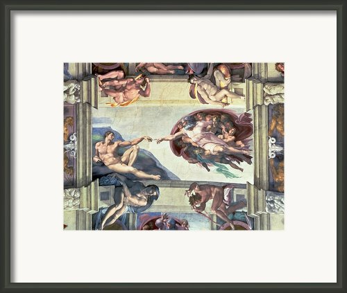 Sistine Chapel Ceiling Creation Of Adam Framed Print By Michelangelo