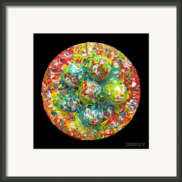 Six  Colorful  Eggs  On  A  Circle Framed Print By Carl Deaville
