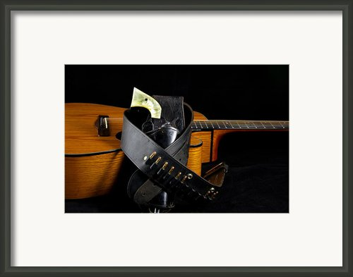 Six Gun And Guitar On Black Framed Print By M K  Miller
