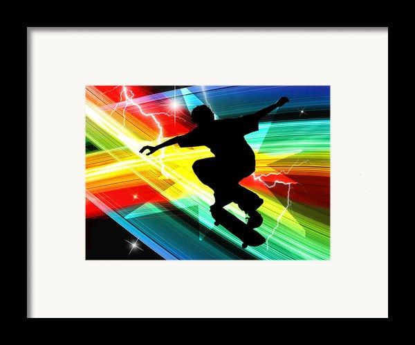 Skateboarder In Criss Cross Lightning Framed Print By Elaine Plesser