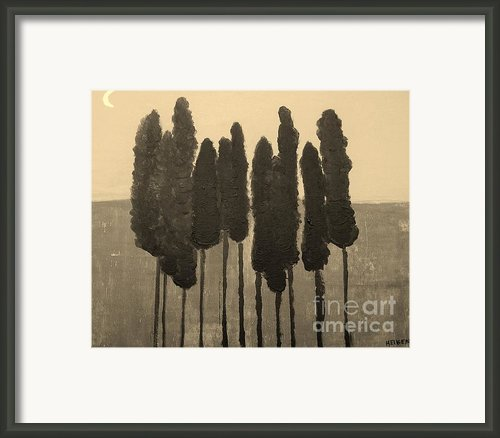 Skinny Trees In Sepia Framed Print By Marsha Heiken
