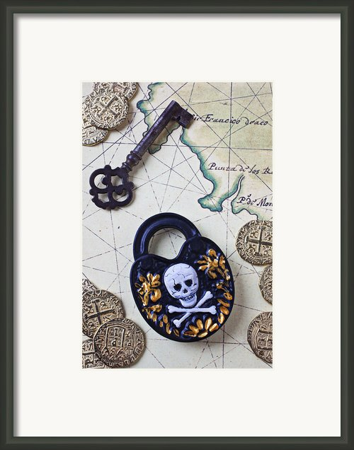 Skull And Cross Bones Lock Framed Print By Garry Gay