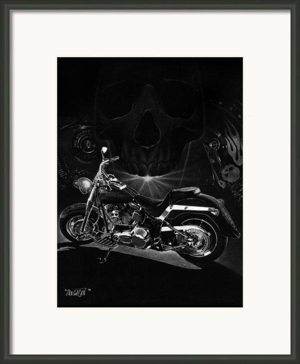 Skull Harley Framed Print By Tim Dangaran