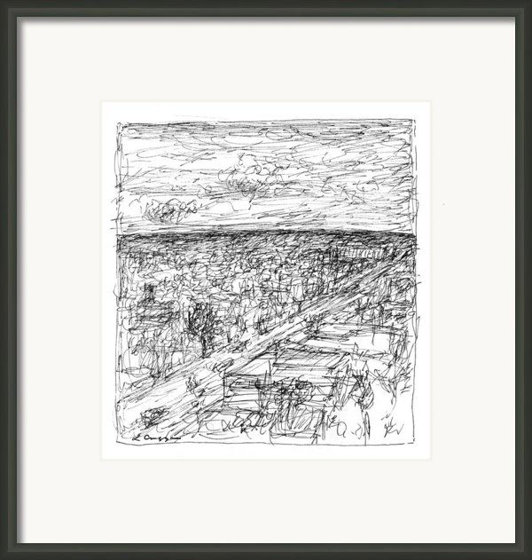 Skyline Sketch Framed Print By Elizabeth Carrozza