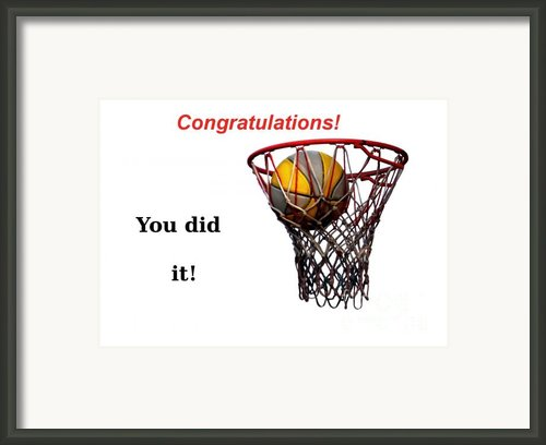 Slam Dunk Congratulations Greeting Card Framed Print By Yali Shi