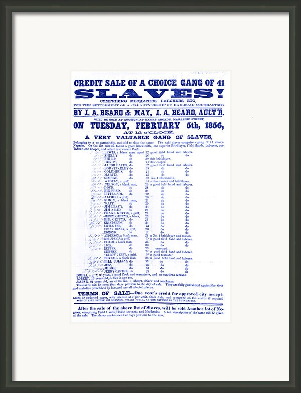 Slave Auction Notice Framed Print By Photo Researchers, Inc.