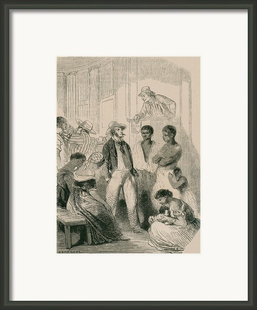Slave Market In The United States Framed Print By Everett