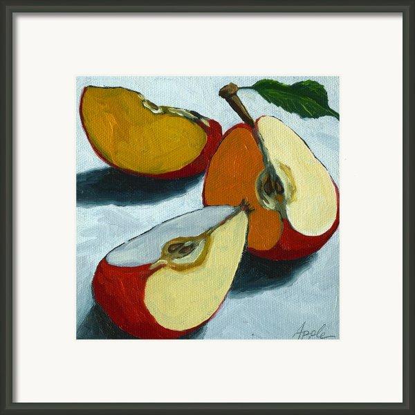 Sliced Apple Still Life Oil Painting Framed Print By Linda Apple