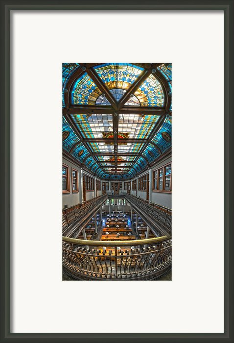Slocum Hall Romanesque Arcade And Stained-glass Skylight Ohio Wesleyan University Framed Print By Brian Mollenkopf