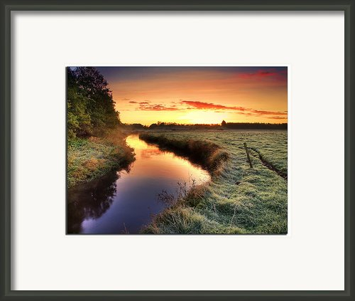 Small River At Sunrise Framed Print By H-l-andersen
