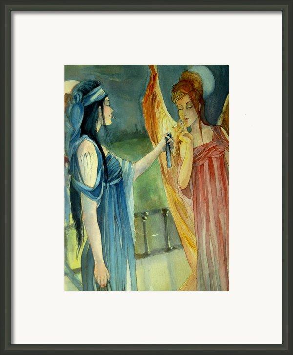 Smoking Angels Framed Print By Jackie Rock