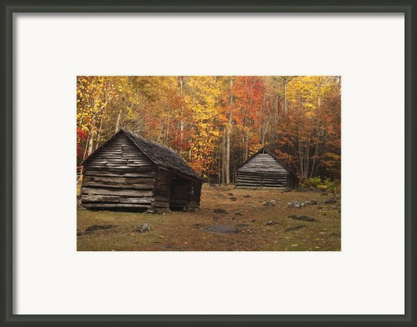 Smoky Mountain Cabins At Autumn Framed Print By Andrew Soundarajan