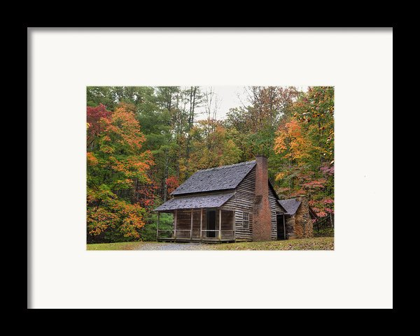 Smoky Mountains Log Capbin Framed Print By Charles Warren