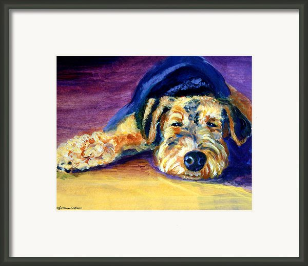 Snooze Airedale Terrier Framed Print By Lyn Cook