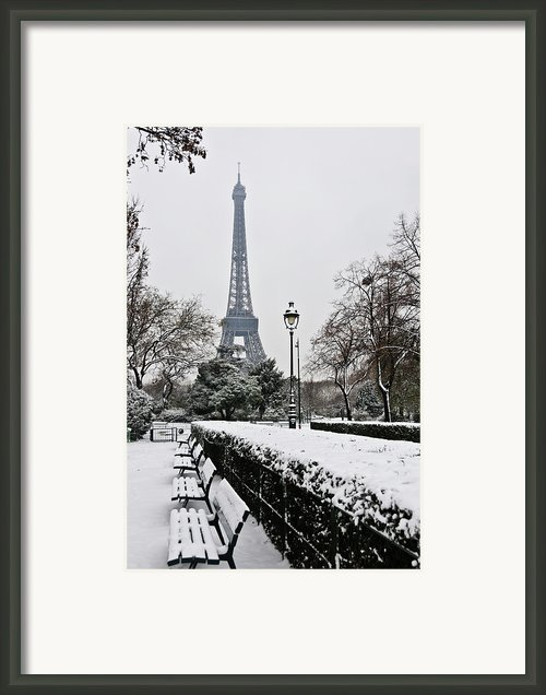Snow Carpets Benches And Eiffel Tower Framed Print By Jade And Bertrand Maitre