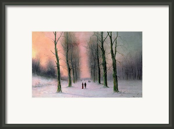 Snow Scene Wanstead Park   Framed Print By Nils Hans Christiansen