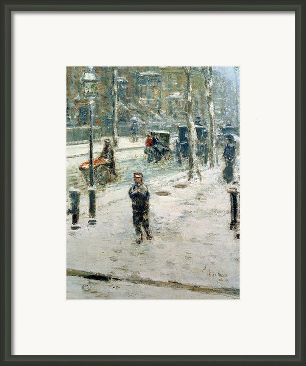 Snow Storm On Fifth Avenue Framed Print By Childe Hassam