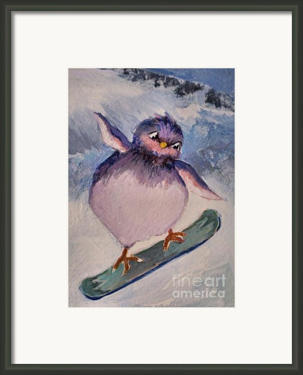 Snowboard Bird Framed Print By Diane Ursin