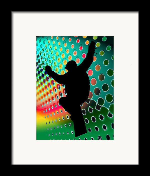 Snowboard In Cosmic Snowstorm Framed Print By Elaine Plesser