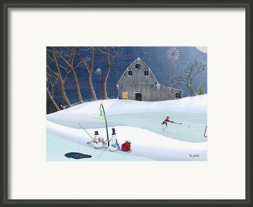 Snowmen On Hockey Pond Framed Print By Thomas Griffin