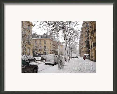 Snowy Day In Paris Framed Print By Louise Heusinkveld