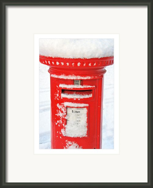 Snowy Pillar Box Framed Print By Mal Bray