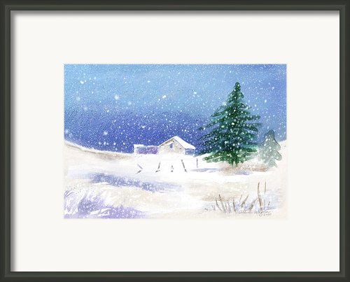 Snowy Winter Scene Framed Print By Arline Wagner