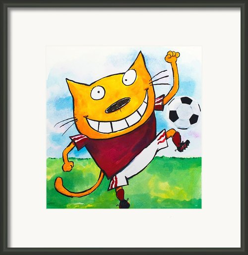 Soccer Cat 2 Framed Print By Scott Nelson