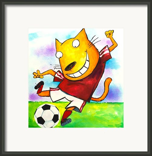 Soccer Cat Framed Print By Scott Nelson