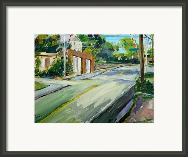 South Main Street Train Crossing Framed Print By Scott Nelson