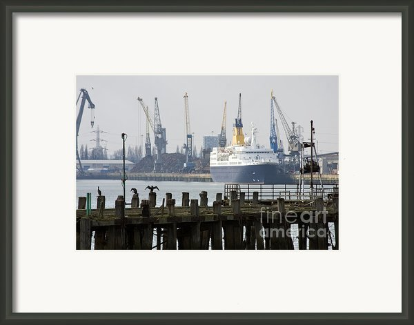 Southampton Old Pier And Docks Framed Print By Jane Rix