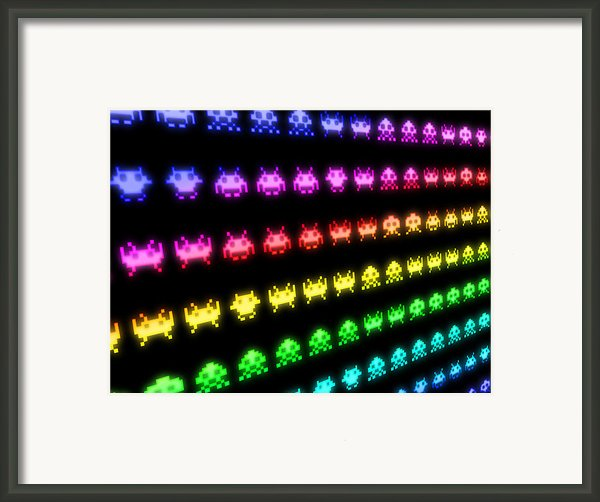 Space Invaders Framed Print By Michael Tompsett
