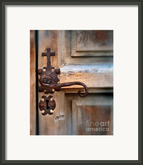 Spanish Mission Door Handle Framed Print By Jill Battaglia