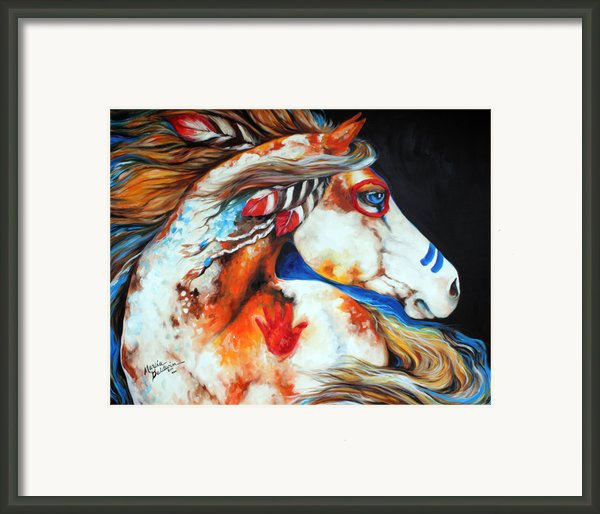 Spirit Indian War Horse Framed Print By Marcia Baldwin